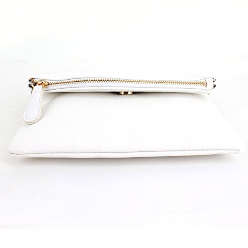 Purse Tassel Envelope Bag white Handbag Mily Evening Clutch Foldover Z with Shoulder Wristlet 1xv6qwFEwB