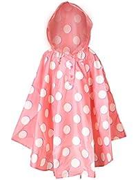 Whollyup Lightweight Kids Rain Poncho Raincoat Girls Boys Hooded Rain Jackets