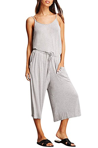 Teen Girl Overall Wide-Legged Pant Capri Tall Waist Leisure Cute Straps Jumpsuit,01-light Grey,Medium (Teenager Rompers)