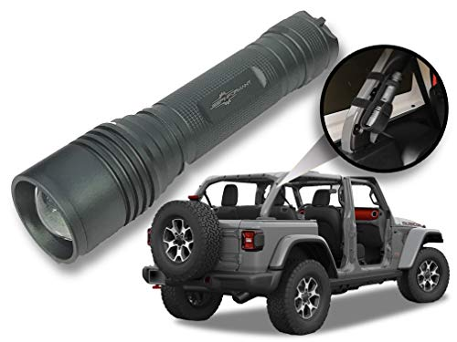 Sting Gray LED Flashlight with Roll Bar Holster, Jeep JL Accessories, Zoomable, Ultra Bright, 1000 Real Lumens, Brightness Control, SOS and Strobe 2018 Jeep Wrangler JL Accessories
