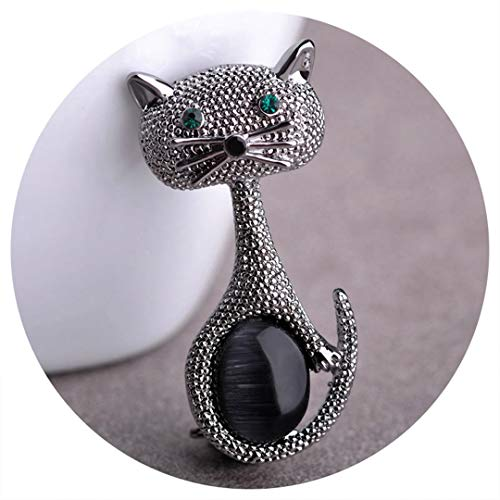 - Vintage Green Eyes Cats Brooch Corsage Antique Gold Color Opals Animal Brooches For Women Kids Small Hijab Pins Jewelry Anti Silver Plated