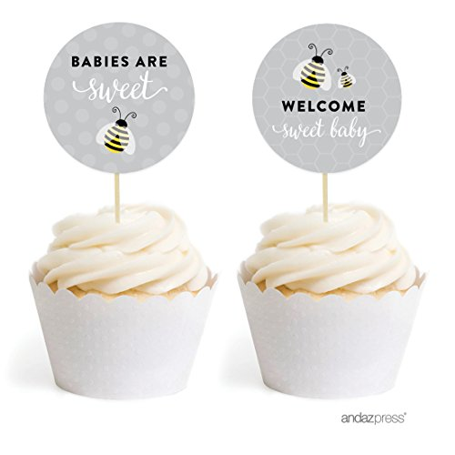 Andaz Press Mama to Bee Bumblebee Gender Neutral Baby Shower Collection, Cupcake Topper DIY Party Favors Kit, Babies are Sweet! Welcome Sweet Baby, 20-Pack