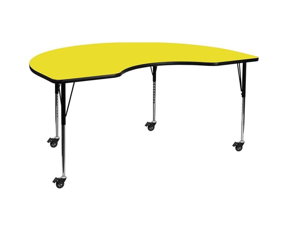 Standard Height Adjustable Legs Flash Furniture Mobile 48W x 96L Kidney Grey HP Laminate Activity Table