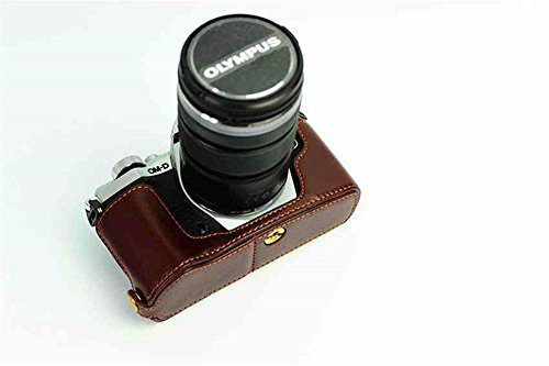 BolinUS Handmade Genuine Real Leather Half Camera Case Bag Cover for Olympus OM-D E-M5 Mark II Bottom Opening Version + Hand Strap - Coffee (Best Bag For Omd Em5)