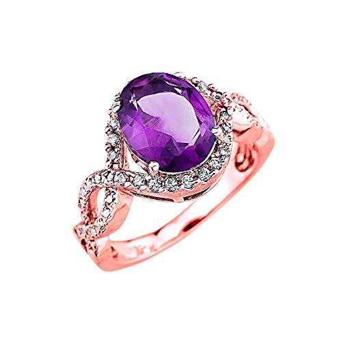 Elegant 14k Rose Gold Diamond Personalized Genuine Amethyst Infinity Engagement Ring (Size 9)