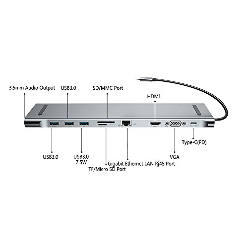 G-daimler Premium USB C Hub for Ttpe-c MacBook pro, Mixilin Multi-Function 10-in-1 Type-C to HDMI USB C Docking Station,Type C Adapter for MacBook Pro.