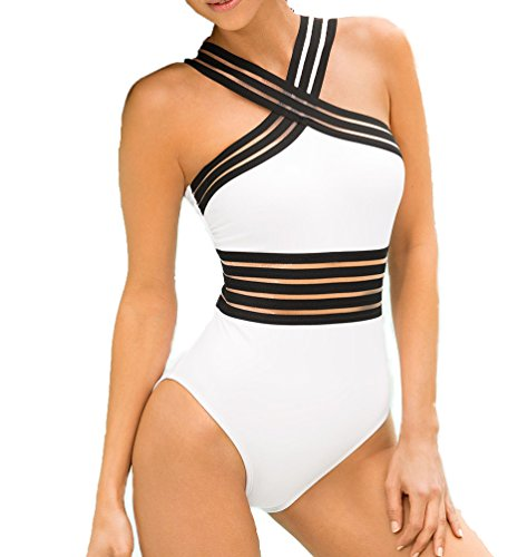 White Women's Sexy Cute Backless Sling One-piece Mesh Swimsuit Swimwear Cover-ups Bathing Suits Summer Beachwear (L)