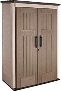 product image for Rubbermaid Small Vertical Resin Weather Resistant Outdoor Garden Storage Shed, 5x2 Feet, Brown