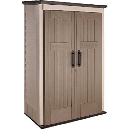 Rubbermaid 1887157 Resin Vertical Outdoor Shed, 52 cubic ft, Beige/Brown