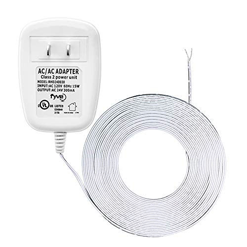 24 Volt Transformer, C-Wire Power Adapter for Ecobee Nest Honeywell Emerson Sensi, Ring Doorbell Pro, Nest Hello, Skybell, Smart WiFi Thermostat and Doorbell Power, 25 ft Cable by Fyve Global (Boiler Fired Gas)