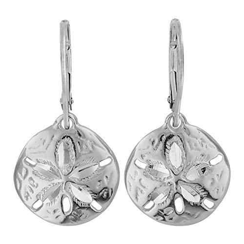 (Sterling Silver Sand Dollar Dangle Leverback Earrings)