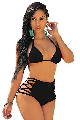 Swimsuit Halter Bikini Black Sexy (Sherry007 Women's Sexy High Waisted Cut Out Bikini Halter Strappy Swimsuit Swimwear (US 6, black) Black (US 6)M)