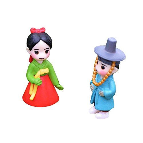 LAMEIDA Miniature Fairy Garden Lovely Couple Doll in Korean Costume Ornament Dollhouse Plant Pot Figurine DIY Craft for Garden Outdoor Home Decor 1 Pair -