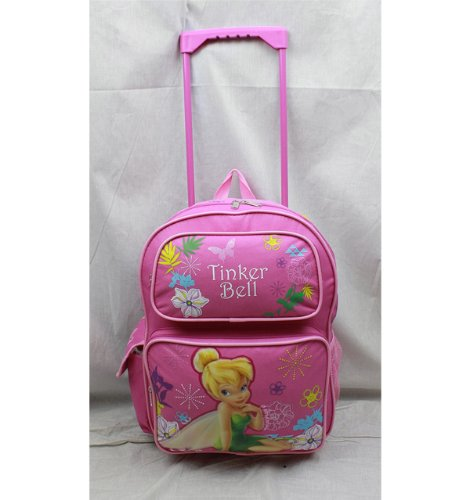 Disney Tinkerbell Flower - Rolling Backpack - Disney - Tinkerbell Pink and Flowers