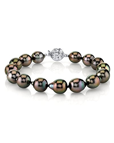 14K Gold 10-11mm Drop Shaped Tahitian South Sea Cultured Pearl Bracelet by The Pearl Source