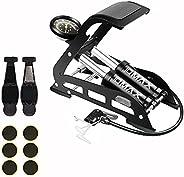 Double Barrel Foot Pump, IDMAX Double Cylinder Bike Pump Bike Floor Pump Portable Bicycle Pump Bicycle Tire Pu