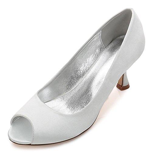E17061 Maß Silver L Court Satin Größe Toe Damen YC Damen Schuhe Heel Nach Hochzeits Peep 10 Low Party AZ6qwnAC