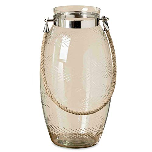 (Heritage Farm House Vase, Luminous Clear Glass, Etched Rustic Wheat Grain Pattern, Metal Clad Top with Natural Rope Handle, 8 Diameter x 16 Tall Inches)