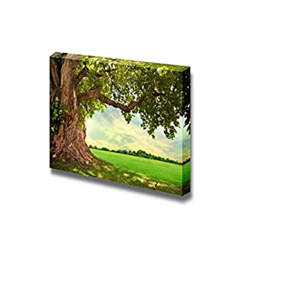 With Expert Quality, Incredible Portrait, Beautiful Scenery Landscape Spring Meadow with Big Tree and Fresh Green Leaves Wall Decor