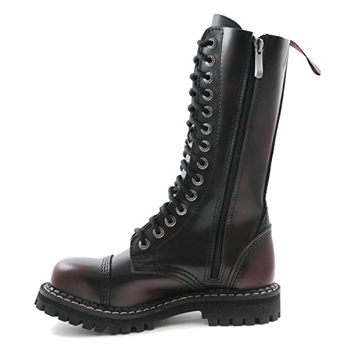 ANGRY ITCH - 14-Loch Burgundy Red Rub-Off Gothic Punk Army Ranger Armee Leder Stiefel mit Stahlkappe