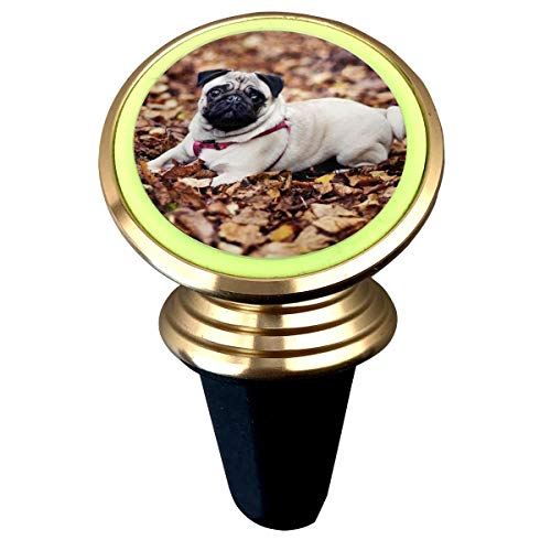 Pug-Sitting-in-The-Leaves Magnetic Phone Car Mount, 360 Rotation Dashboard Cell Phone Cradle Mount Compatible with iPhone Xs Max XR X 8 7 Plus Galaxy S9 S8 Plus Note 9 8 and More
