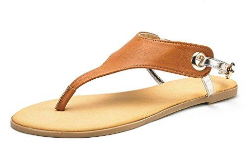 DREAM PAIRS ABHA Women Casual Wear Summer Fashion Thong Gladiator Sandals Tan Gold Size 7