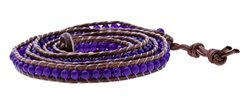 Lannaclothesdesign's Fashion Bracelet 5 Wrap Genuine chocolate Leather Handmade Wooden Closure Adjustable (Luxury Handmade Chocolates)