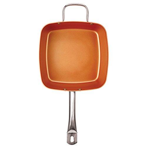 "Non-Stick Copper Titanium Chef 5 Piece 9.5"" Square Pan Set"