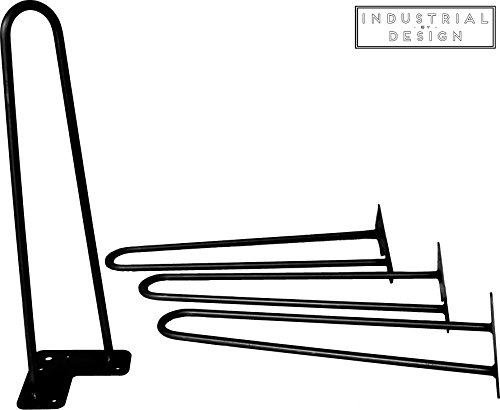 Industrial By Design - 12'' Hairpin Legs (Satin Black) - Industrial Strength - Mid Century Modern - Set of 4, Great for Table Legs by Industrial By Design (Image #1)
