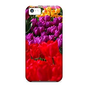 Awesome Tulip Garden Flip Case With Fashion Design For Iphone 5c
