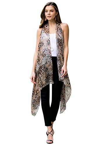 Sheer Beachwear Bathing Swimsuit Bikini Cover Up - Drape Kaftan Shawl Leopard Animal Print Open Kimono Cardigan, Vest (Drape Vest - Leopard Light Brown)