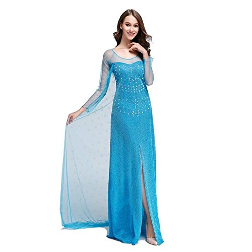 iPretty Womens Elsa Costume Cosplay Party Princess Dress (Adult Size Elsa Dress)
