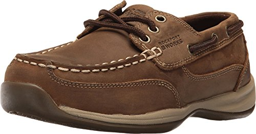 (Rockport Womens Brown Leather Casual Boat Shoes Sailing Club Steel Toe 9 M)