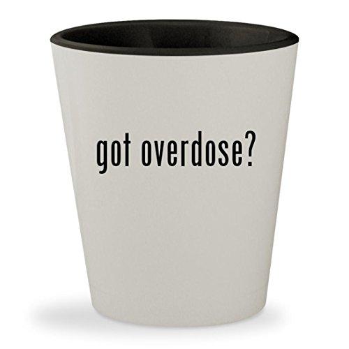 Gungrave Hat - got overdose? - White Outer & Black Inner Ceramic 1.5oz Shot Glass