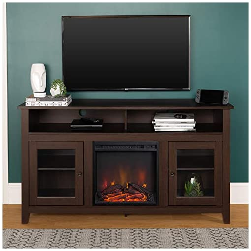Farmhouse Living Room Furniture Walker Edison Glenwood Rustic Farmhouse Glass Door Highboy Fireplace TV Stand for TVs up to 65 Inches, 58 Inch, Espresso farmhouse tv stands