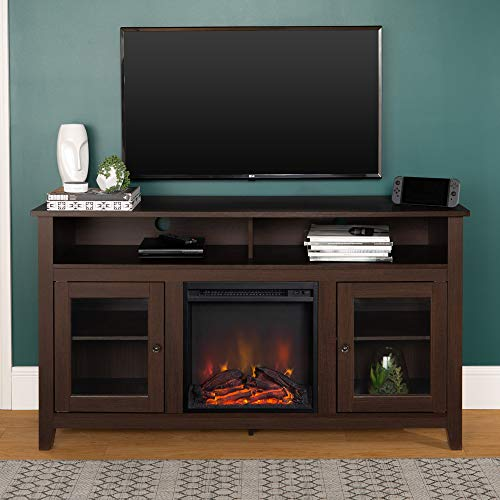 Walker Edison Tall Rustic Wood Fireplace TV Stand for TV's ...