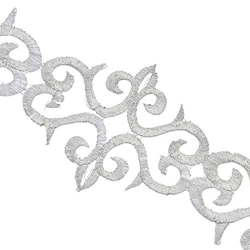 (DIY Trim Ribbon Iron on Sew on Embroidery Applique Wedding Bridal Dress Decor (Color - Silver))