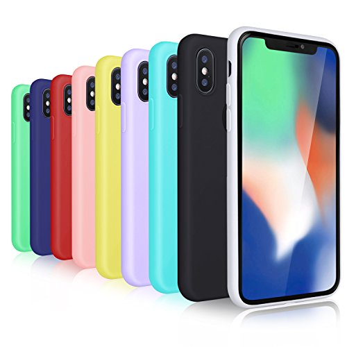 OKRAY 9 Pack 5.8 inch Silicone Gel Shockproof Thin Case Compatible for iPhone X/XS, Cover with Premium Soft TPU – Multicolored