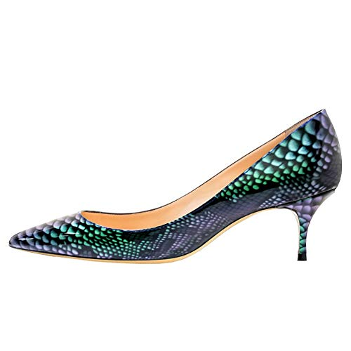 June in Love Women's Low Heels Shoes Pointy Toe Daily Pumps (6 US, Green Snakeskin)