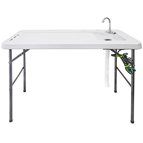 Goplus Folding Fish Table Fillet Hunting Cleaning Cutting Camping Sink Table Faucet with Sprayer and Drain Hose
