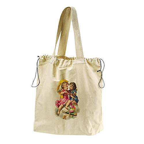 Couple Of Angels Valentines Day #2 Canvas Drawstring Beach Tote Bag by Style in Print