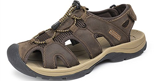 JINBEILE Men's Leather Sport Sandals Fisherman Trail Outdoor Hiking Water Shoes