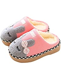 Boys Girls Home Slippers,Kids Cute Fur Lined Warm House Slippers Winter Indoor Shoes