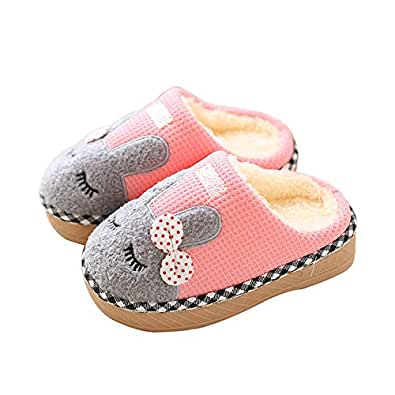Maybolury Boys Girls Home Slippers,Kids Cute Fur Lined Warm House Slippers Winter Indoor Shoes Pink Size: 4.5-5 Toddler