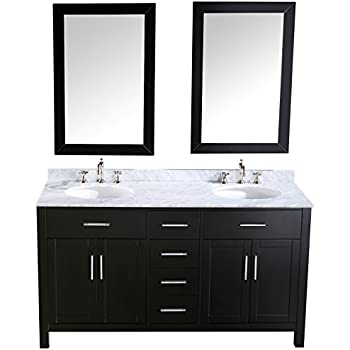 "Bosconi Bathroom Vanities SB-252-4 Contemporary Double Vanity with Soft Closing Drawers, Marble Countertop, and Matching Mirrors, 60"", Black"