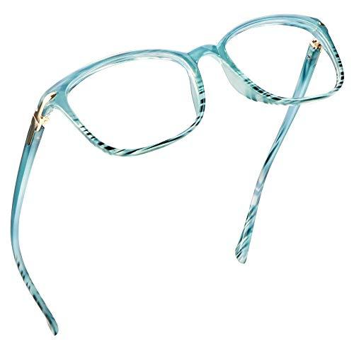LifeArt Blue Light Blocking Glasses, Anti Eyestrain, Computer Reading Glasses, Gaming Glasses, TV Glasses for Women Men, Anti Glare (Stripe Blue, +0.00 Magnification)