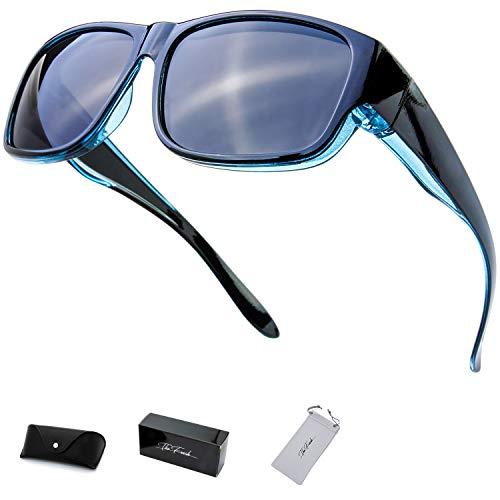 The Fresh High Definition Polarized Wrap Around Shield Sunglasses for Prescription Glasses 66mm Gift Box (407-Crystal Blue/Black Paint, ()