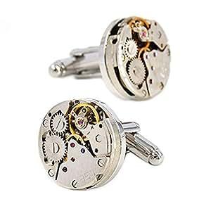 Merit Ocean Movement Cufflinks Steampunk Watch Mens Shirt Vintage Watch Cuff Links Business Wedding Gifts with Gift Box