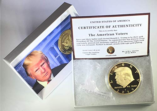 2017-2018 and/or 2019 Donald Trump Replica Gold Piece, 45th Presidential Edition 24kt Gold Plated Commemorative Medallion & Display Case eTradewinds (1-Pack 2019 Gift Box & Certificate)
