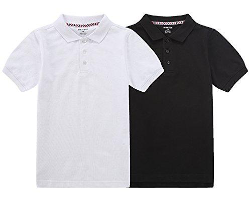 Bienzoe Boy's Antimicrobial Breathable Short Sleeve Polo 2pcs PackA 6/6X - Antimicrobial Short Sleeve Polo Shirt